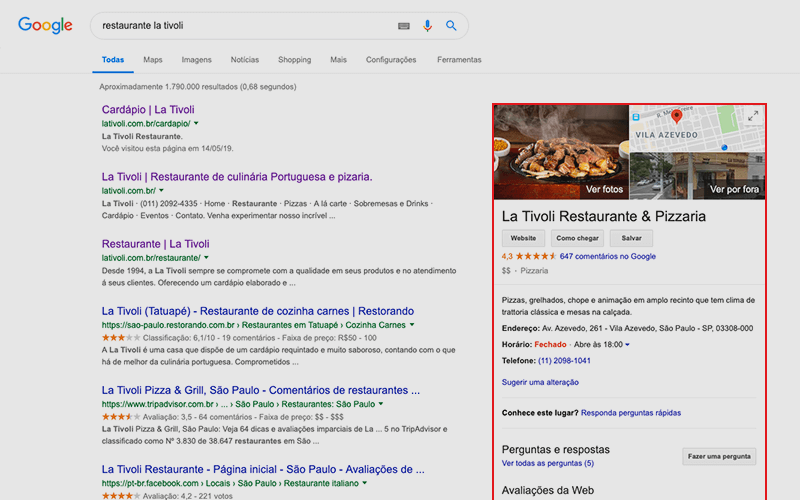 Google Meu Negócio - Marketing para restaurante