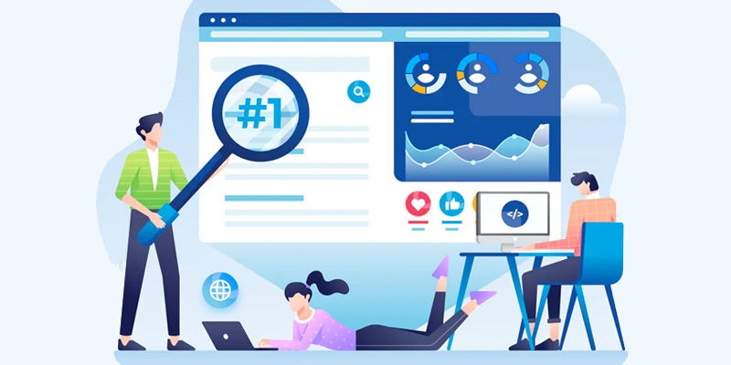 Criação de Site: Ilustração de pessoas fazendo análise de páginas web para construção de site profissional