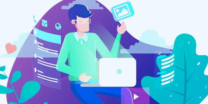 Ilustração de pessoa fazendo planejamento do desenvolvimento de site profissional