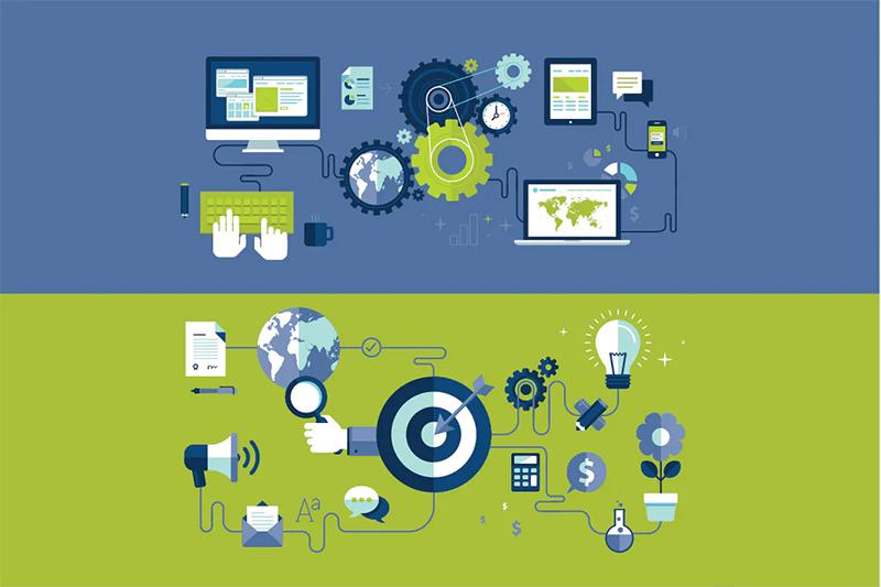 Engrenagens de computadores e alvos de planejamento de site profissional