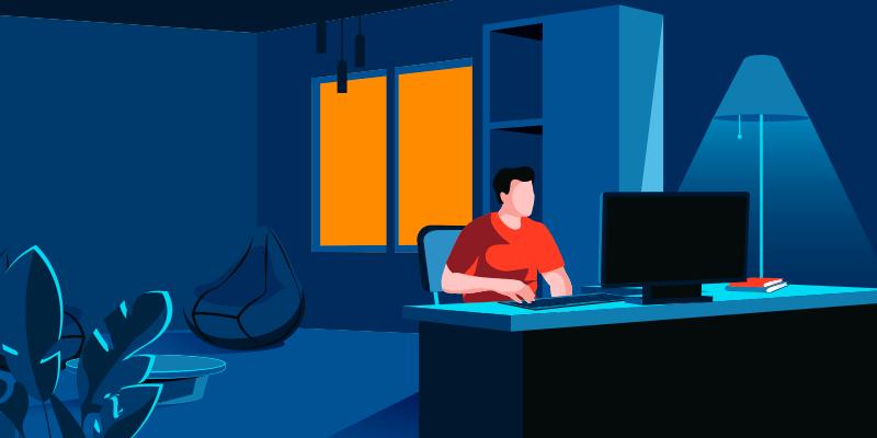 Ilustração de designer fazendo criação de site com seu computador sobre a mesa