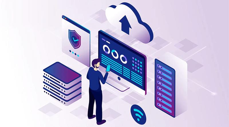 Criação de site: Ilustração de um homem analisando um servidor na hospedagem de site