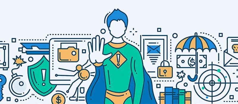 Ilustração de um super-herói fazendo alusão à proteção de site