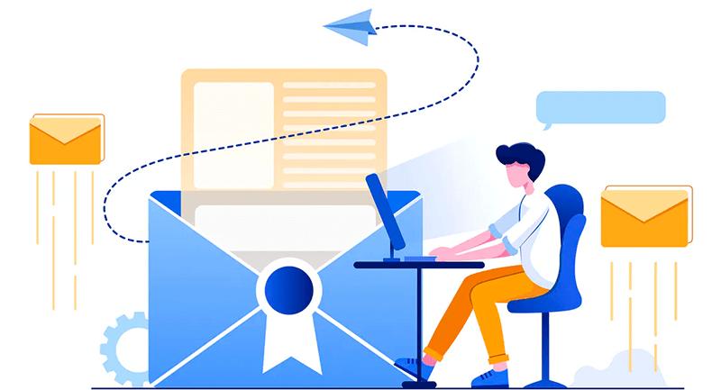 Ilustração de uma pessoa enviando e-mail