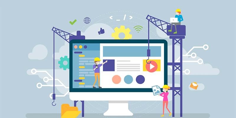 Ilustração de engenheiro projetando um site com as ferramentas corretas