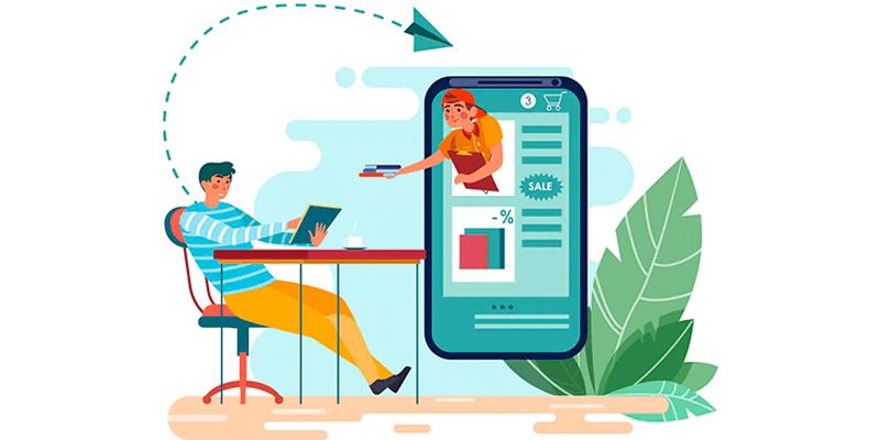 Ilustração de jovens acessando um site versão mobile