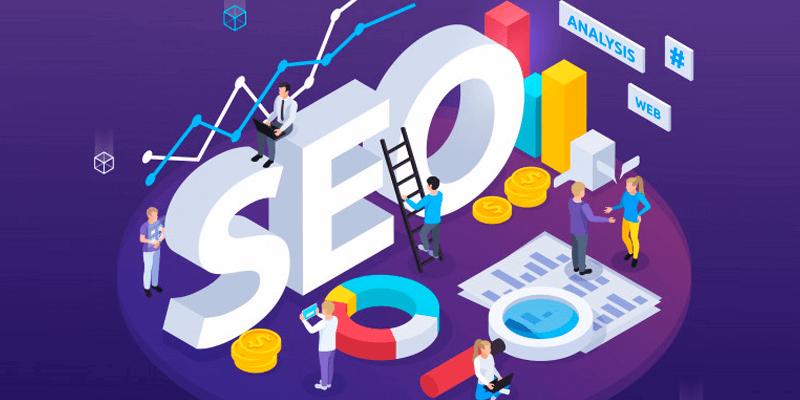 Criação de site: Ilustração de pessoas trabalhando com SEO - Search Engine Optimization