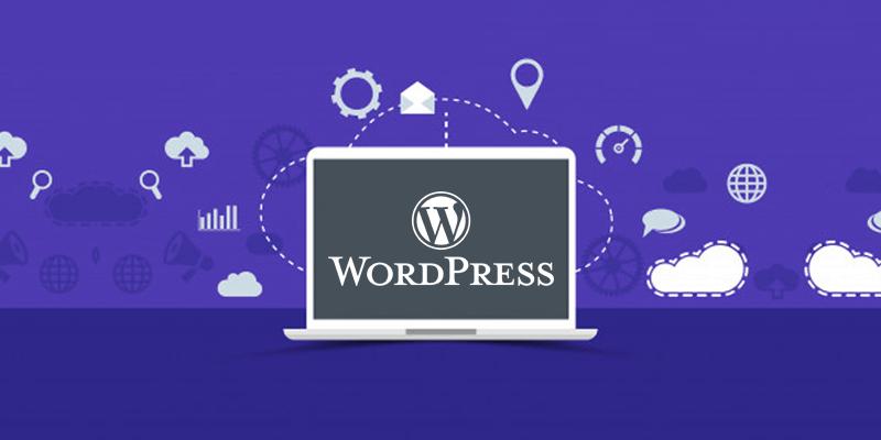 Ilustração de um computador mostrando na tela a plataforma de criação de site WordPress