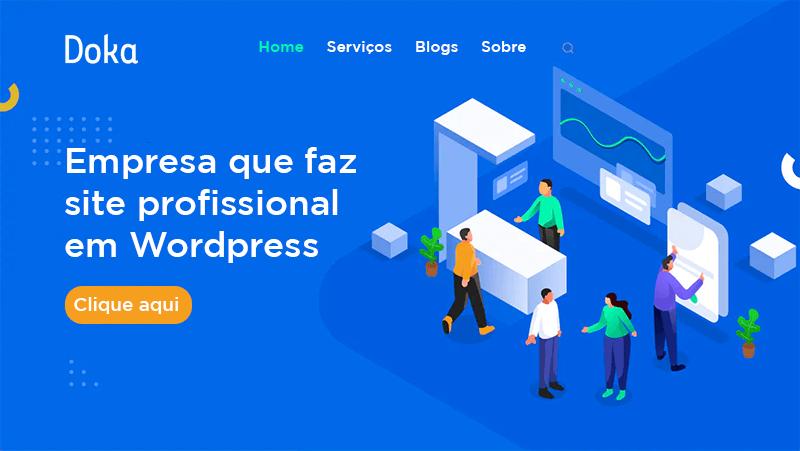 Ilustração de uma página web mostrando a Doka Comunicação - Empresa que faz site