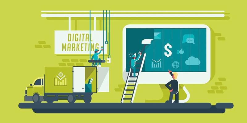Ilustração de pessoas colando um outdoor sobre Marketing Digital