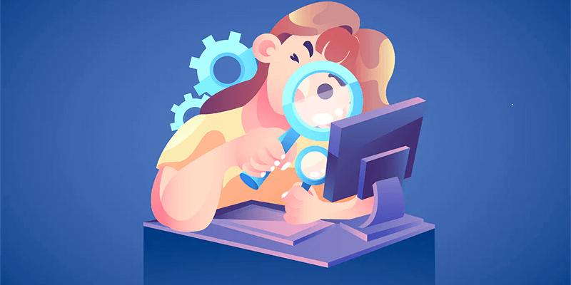 Ilustração de uma menina com uma lupa na mão fazendo alusão às buscas no Google