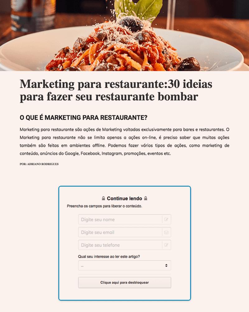 Imagem de Call to Action de Marketing para restaurante
