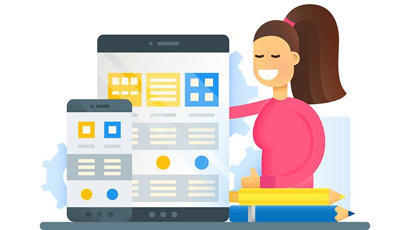 Ilustração de uma menina com blusa rosa aplicando Google Tag Manager em site