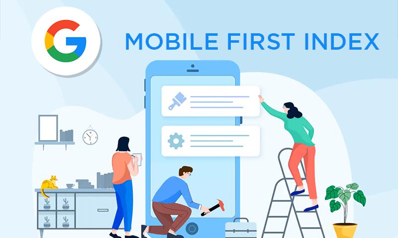 Ilustração de pessoas fazendo Mobile First Index