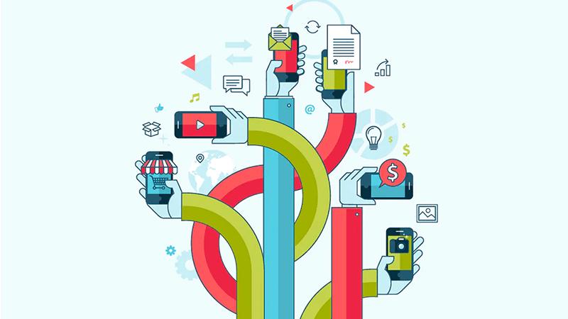 Ilustração de mãos segurando aparelhos celulares com páginas web dos mais diversos tipos