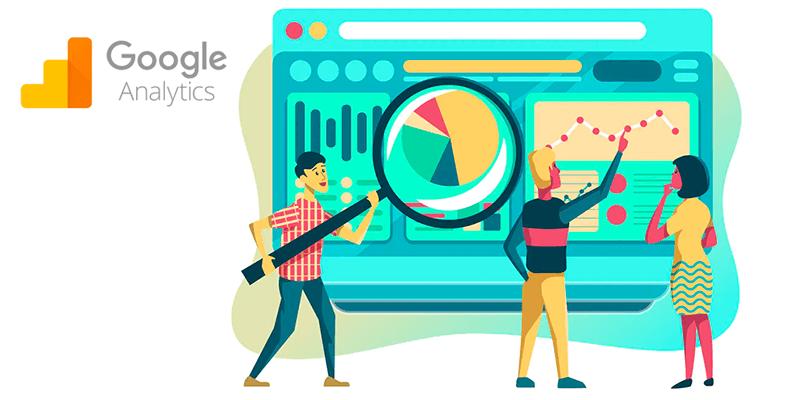 Ilustração de pessoas fazendo análise em uma página do site fazendo alusão ao Google Analytics