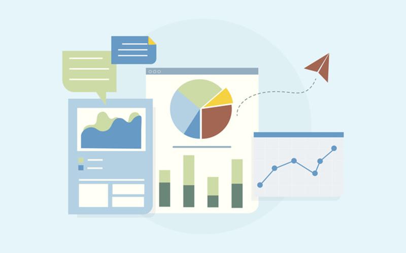 Ilustração de gráficos e métricas