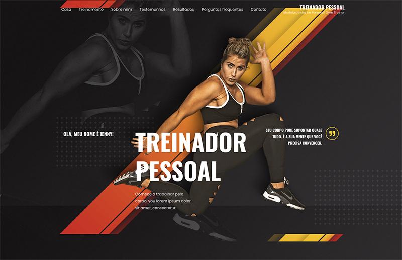 Imagem de uma página web mostrando uma mulher fazendo treinamento na academia
