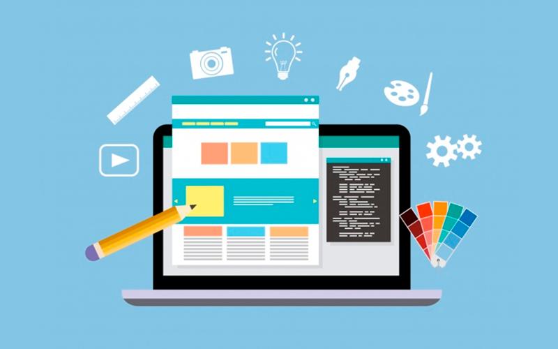 Ilustração de um computador mostrando o desenho de uma página web