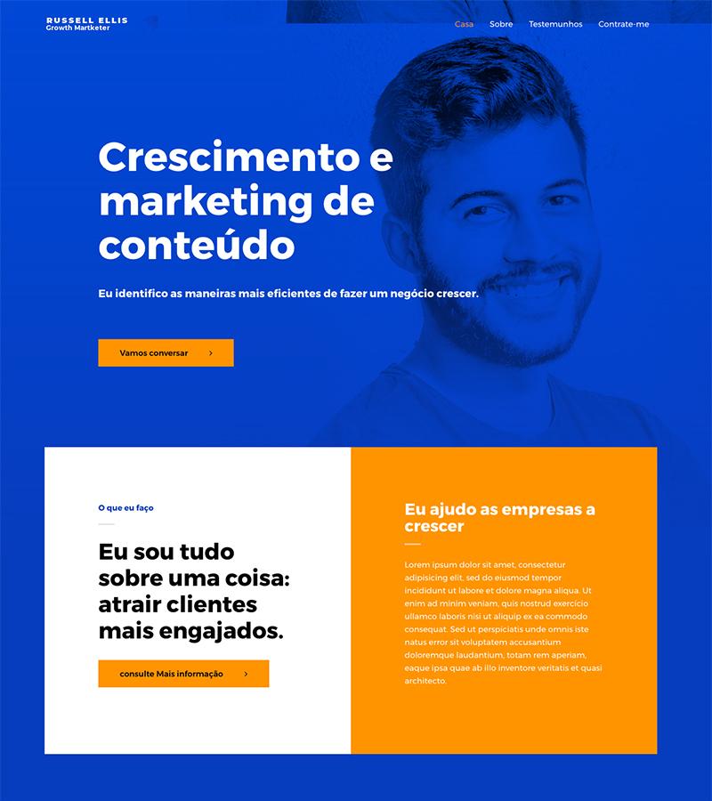 Imagem de uma home page de um site onde mostra o marketing de conteúdo