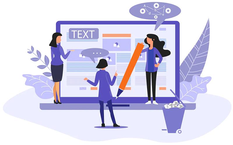 Ilustração de três mulheres escrevendo texto em uma tela de computador