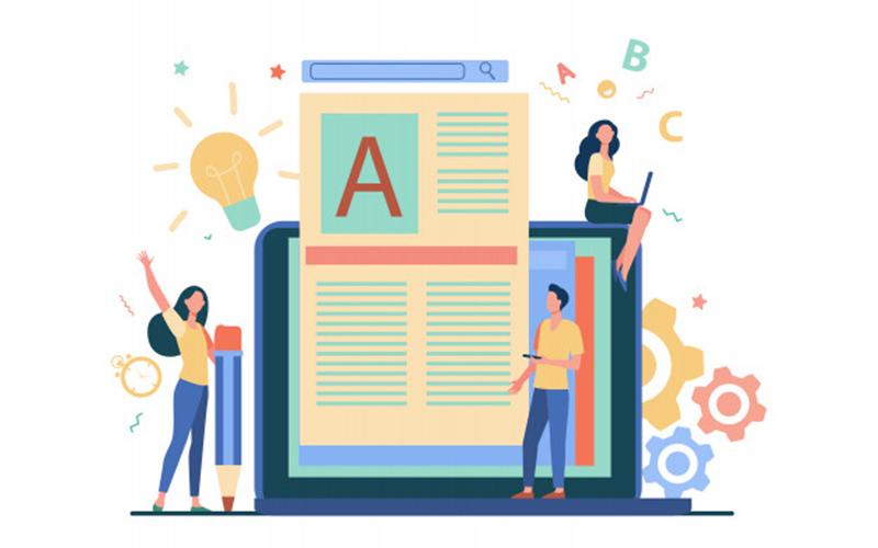 Ilustração de três pessoas fazendo conteúdo para blog