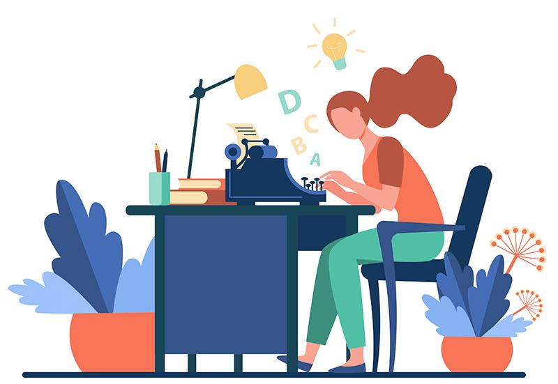 Ilustração de uma mulher escrevendo conteúdo longo para web em uma máquina