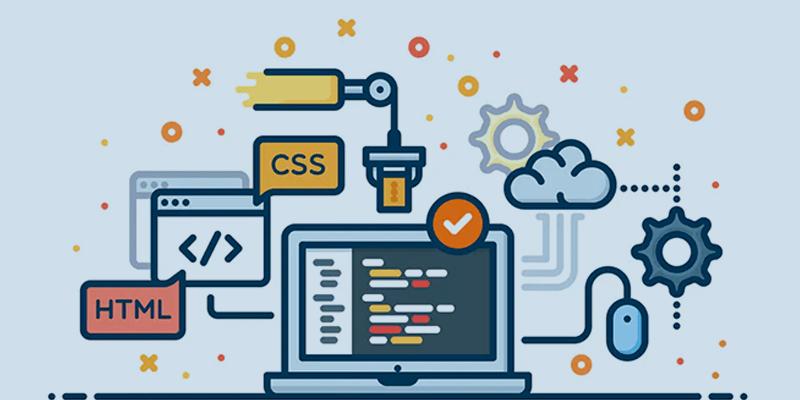Criação de site: Ilustração de tecnologia usada na criação de site: css, html, php