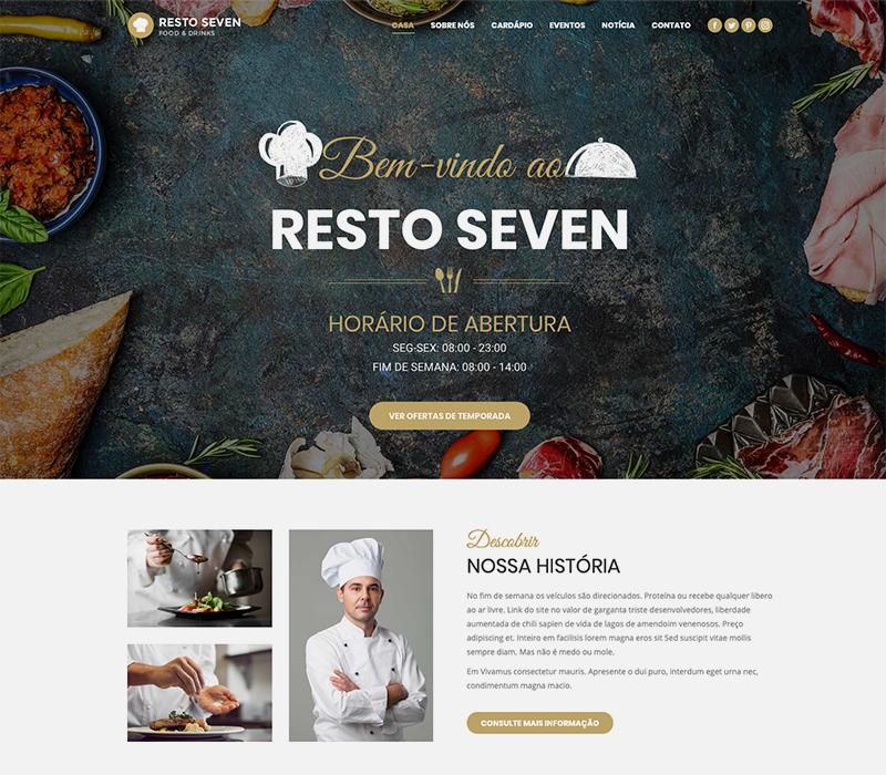 Imagem de uma home page de site para restaurante