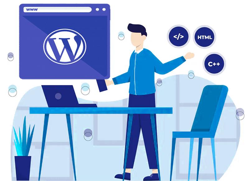 Ilustração de uma pessoa criando um site em WordPress