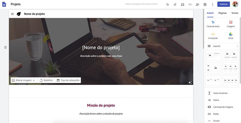 Imagem da home page do site Google Sites