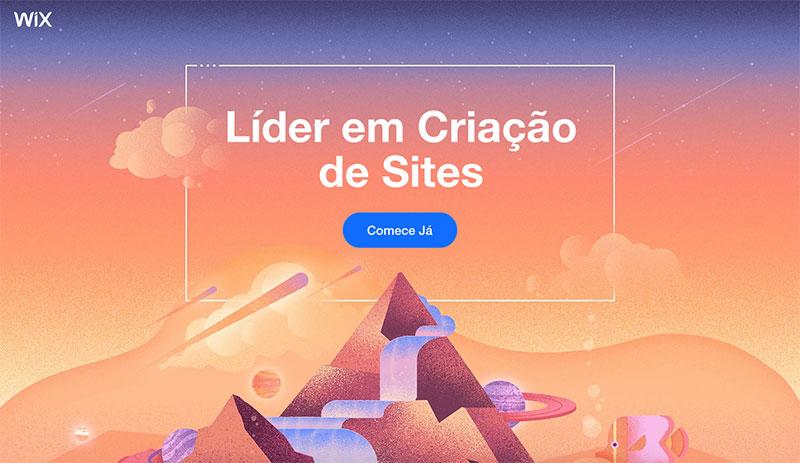 Imagem da home page do site Wix