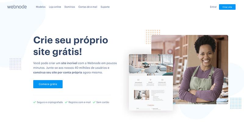 Imagem da home page da plataforma de site Webnode