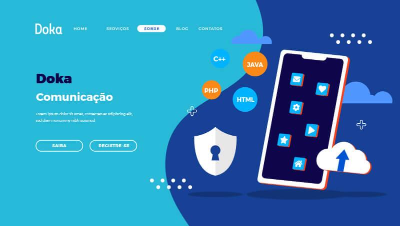 Criação de Site: Imagem da home page da Doka Comunicação
