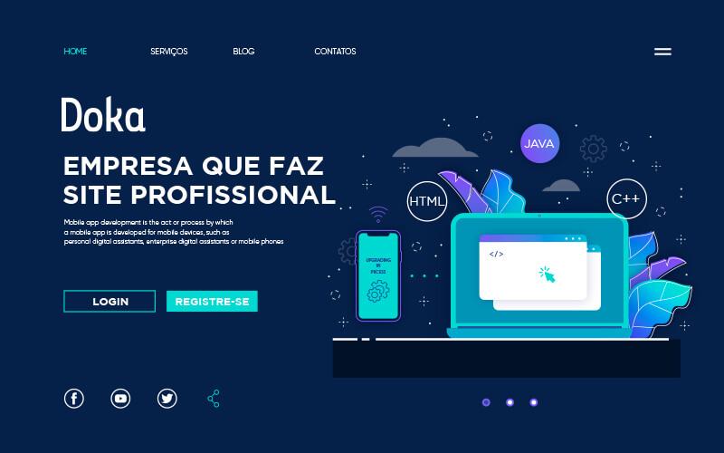 Criação de Site: Imagem da home page da empresa que faz site profissional - Doka Comunicação