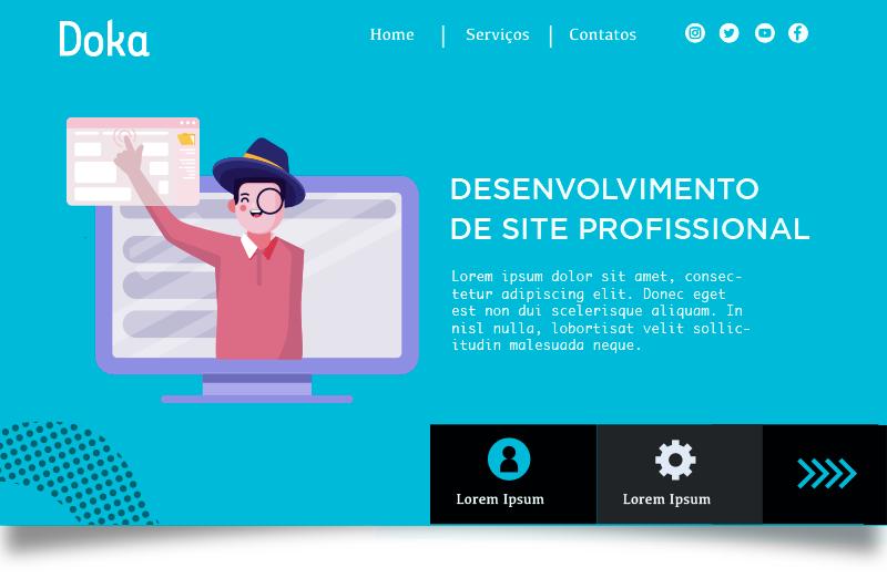 Criação de Site: Imagem da home page do site de desenvolvimento de site profissional da Doka Comunicação